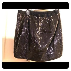 J Crew size 4 black sequin mini skirt WORN ONCE